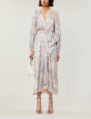 Temperley London Kitty printed metallic woven maxi dress