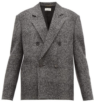 Saint Laurent Double-breasted Checked Wool-blend Jacket - Womens - Grey