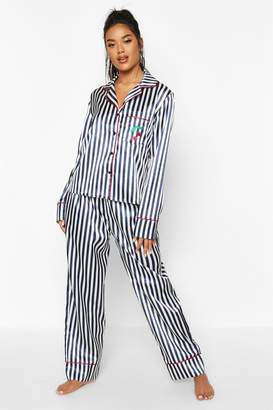 boohoo Stripe Satin Pocket Embroidered PJ Set