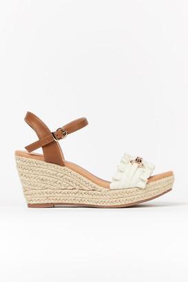 Wallis **WIDE FIT White Ruffle Wedge Sandal