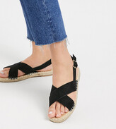 Truffle Collection wide fit cross strap espadrille sandal
