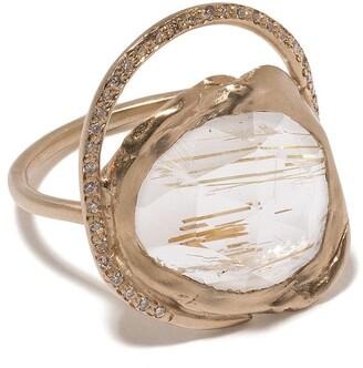 Pascale Monvoisin 9kt yellow gold diamond quartz Gaia ring