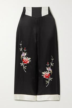 Morgan Lane Olive Cropped Embroidered Satin Pajama Pants