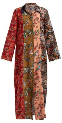 Anjuna - Augustina Panelled Silk-crepe Dress - Womens - Red Multi
