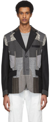 Junya Watanabe Black and Grey Linen Patchwork Blazer