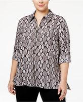 MICHAEL Michael Kors Size Printed Zip-Up Blouse