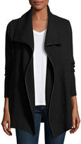 Vince Ribbed Wool Cardigan with Leather Trim, Gray/Black