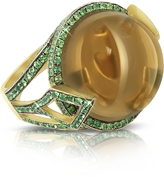 Sho London 18K Gold V-Seal Smoky Quartz Feodora Ring