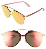 Christian Dior Women's Reflected Prism 63Mm Oversize Mirrored Brow Bar Sunglasses - Red/ Gold/ Red