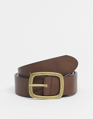 ASOS DESIGN wide belt in brown faux leather with vintage gold buckle