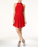 Material Girl Juniors' Lace Mock-Neck A-Line Dress, Only at Macy's