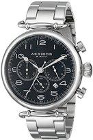 Akribos XXIV Men's AK764SSB Chronograph Quartz Movement Watch with Black Dial and Stainless Steel Bracelet