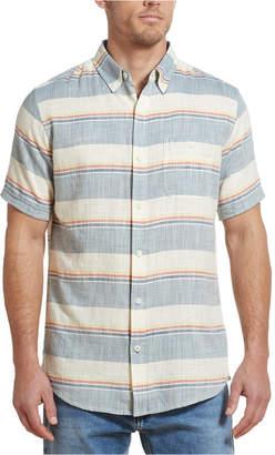 Weatherproof Vintage Men Horizontal Stripe Twill Slub Shirt