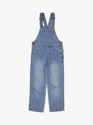 Polarn O. Pyret Girls' Organic Cotton Denim Dunagrees, Blue