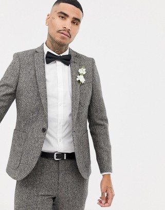 Twisted Tailor super skinny suit jacket in gray herringbone