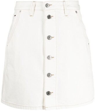 Tommy Jeans Button-Up Logo-Patch Mini Skirt