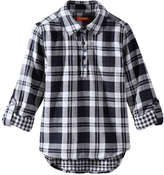 Joe Fresh Kid Girls' Plaid Shirt, Navy (Size M)