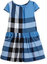 Burberry Judie Cap-Sleeve Smocked Check Shift Dress, Blue, Size 4-14
