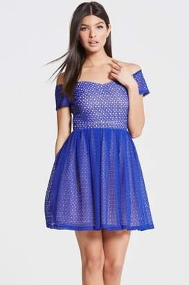 Girls On Film Outlet Cobalt Off The Shoulder Dress