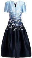 Oscar de la Renta Seamed Floral Jacquard Short-Sleeve A-Line Dress