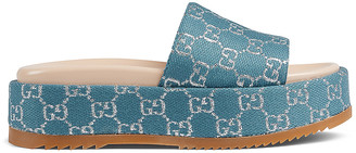 Gucci Angelina Fabric Sandals in Blue & Silver | FWRD
