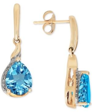 Macy's Blue Topaz(2-3/8 ct. t.w.) & Diamond Accent Drop Earrings in 14k Gold