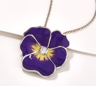 Diamonique Pansy Enamel Pin Pendant with Chain, Sterling Silver