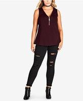 City Chic Trendy Plus Size Zip-Front Top