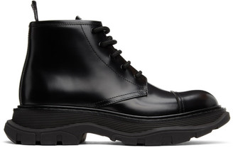 Alexander McQueen Black Shiny Tread Lace-Up Boots