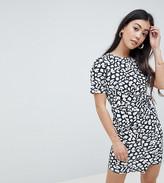 Asos DESIGN Petite mini dress with wrap skirt in animal print