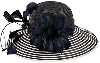 San Diego Hat Company Stripe Feather Woven Brim Hat
