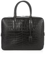 Saint Laurent Museum Crocodile-effect Leather Briefcase