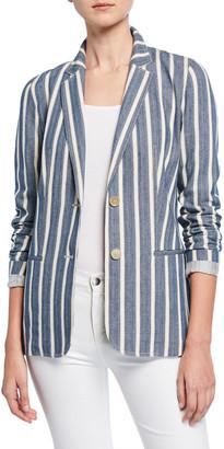 Lafayette 148 New York Briallen Sonoran-Striped Two-Button Cotton Blazer