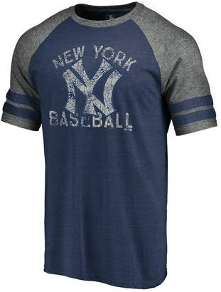 New York Yankees Men's Fanatics Branded Heathered Navy/Gray Cooperstown Collection Earn Your Stripes Two-Stripe Tri-Blend Raglan T-Shirt