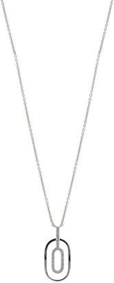 Bony Levy 18K White Gold Diamond Double Row Open Pendant Necklace - 0.06 ctw