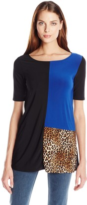 Star Vixen Women's Elbow Sleeve Tri-Colorblock Tunic