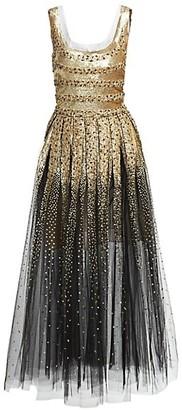 Oscar de la Renta Beaded Sleeveless Tulle Dress