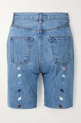 STILL HERE Tate Printed Frayed Denim Shorts - Mid denim