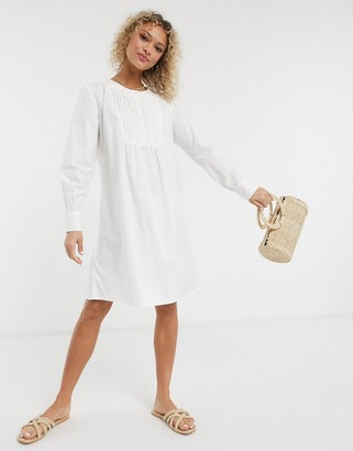 JDY shirt dress with pleat detail in white