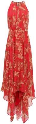 Halston Asymmetric Metallic Georgette Dress