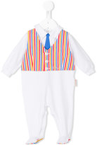 Loredana - striped details pyjama - kids - Cotton/Spandex/Elastane - 1 mth