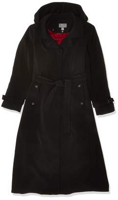Gallery Women's Dressy Full Length Belted Fly Front Hooded Raincoat