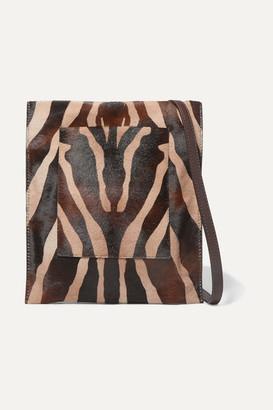 KHAITE Leather-trimmed Zebra-print Calf Hair Shoulder Bag - Zebra print