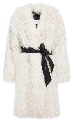 Just Cavalli Belted Shearling Coat