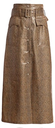 Nanushka Aarohi Snake Vinyl Midi Skirt