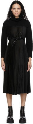Sacai Black Wool Pleated Turtleneck Dress