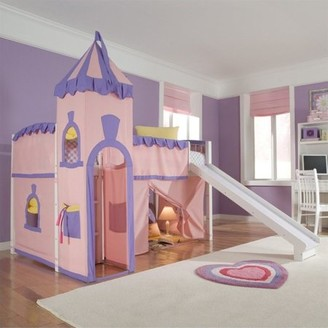 Hillsdale Furniture Hillsdale School House Junior Loft Bed With Slide And Castle Tent, White