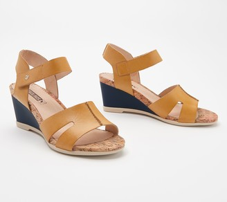 PIKOLINOS Leather Ankle Strap Wedge Sandals - Vigo