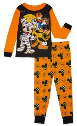 Mickey Mouse Toddler Boys Halloween Snug Fit Cotton Long Sleeve Pajamas, 2-Piece PJ Set (2T-5T)