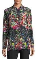 Etro Micro Floral Long-Sleeve Silk Shirt